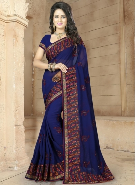 Majestic  Embroidered Work Traditional Saree