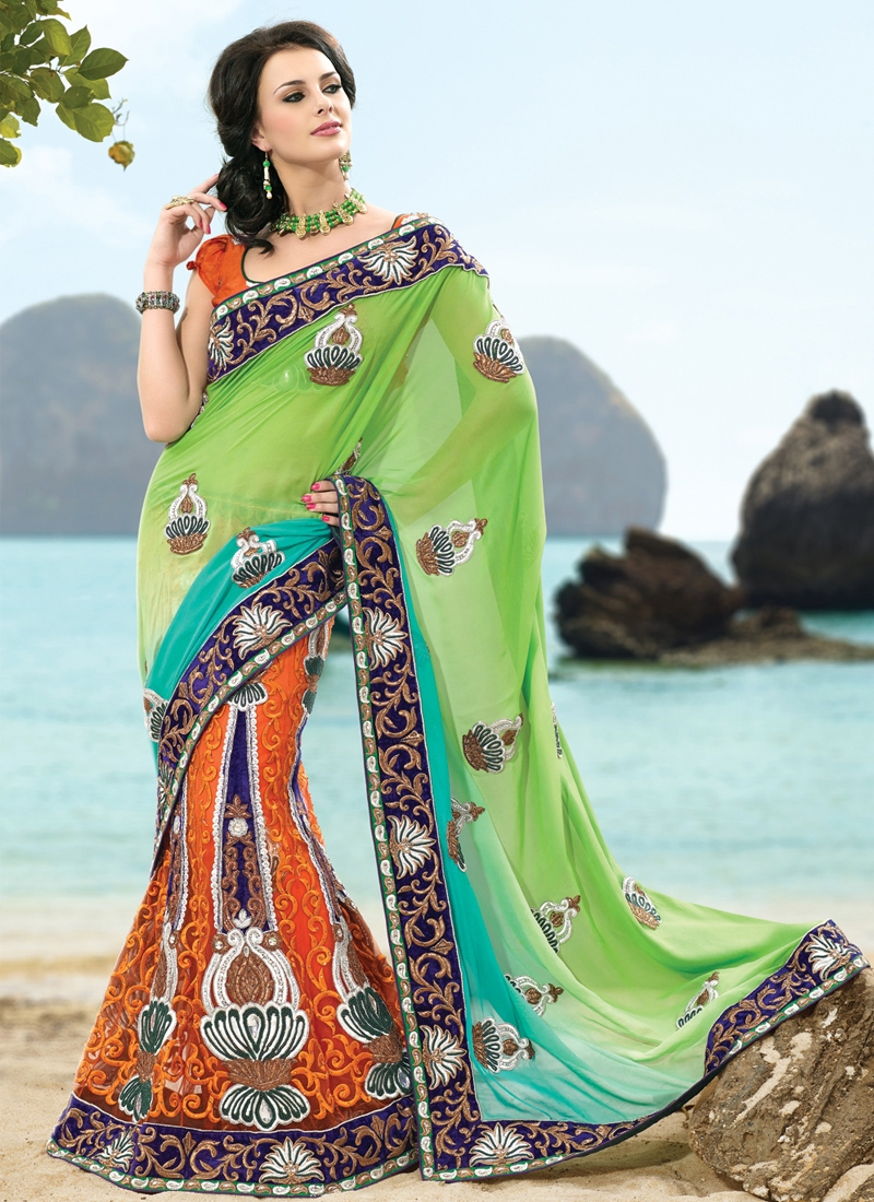 Majestic Georgette And Net Lehenga Saree