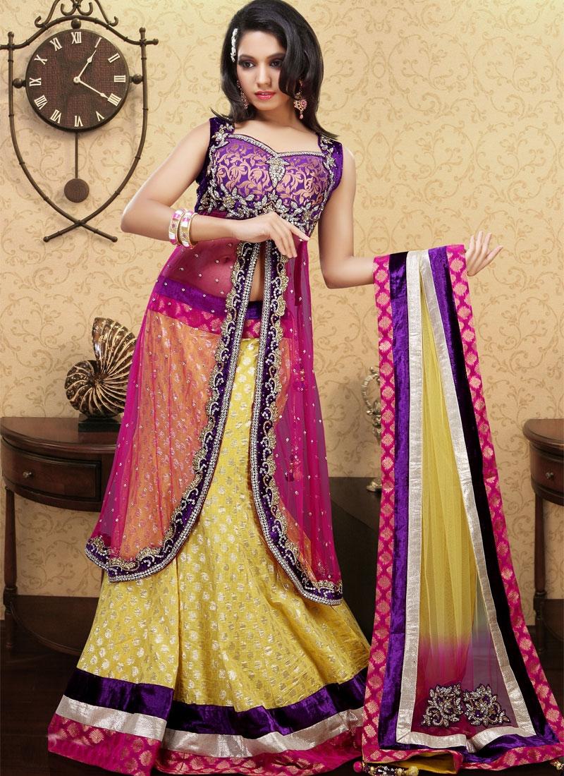 Majestic Gold And Hot Pink Readymade Lehenga Choli