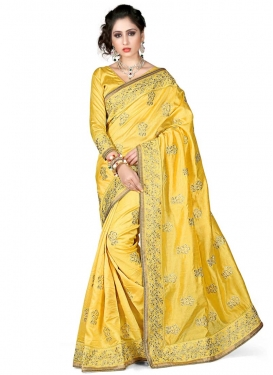 Majestic Lace Work Yellow Color Silk Designer Saree