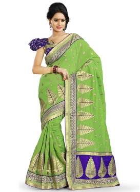 Majestic Mint Green Color Party Wear Saree