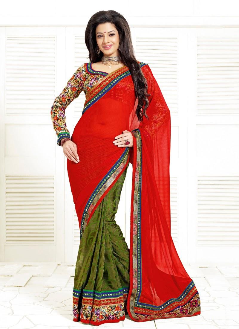 Majestic Mirror Enhanced Half N Half Party Wear Saree