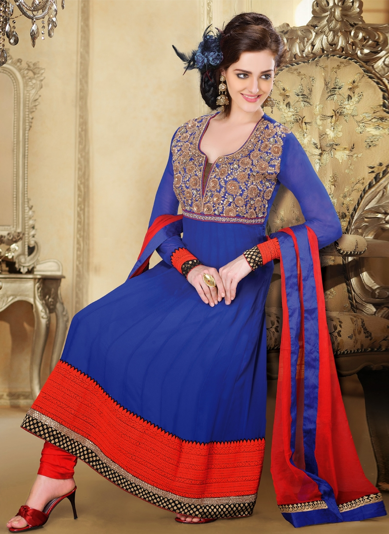 Majestic Navy Blue And Red Readymade Suit