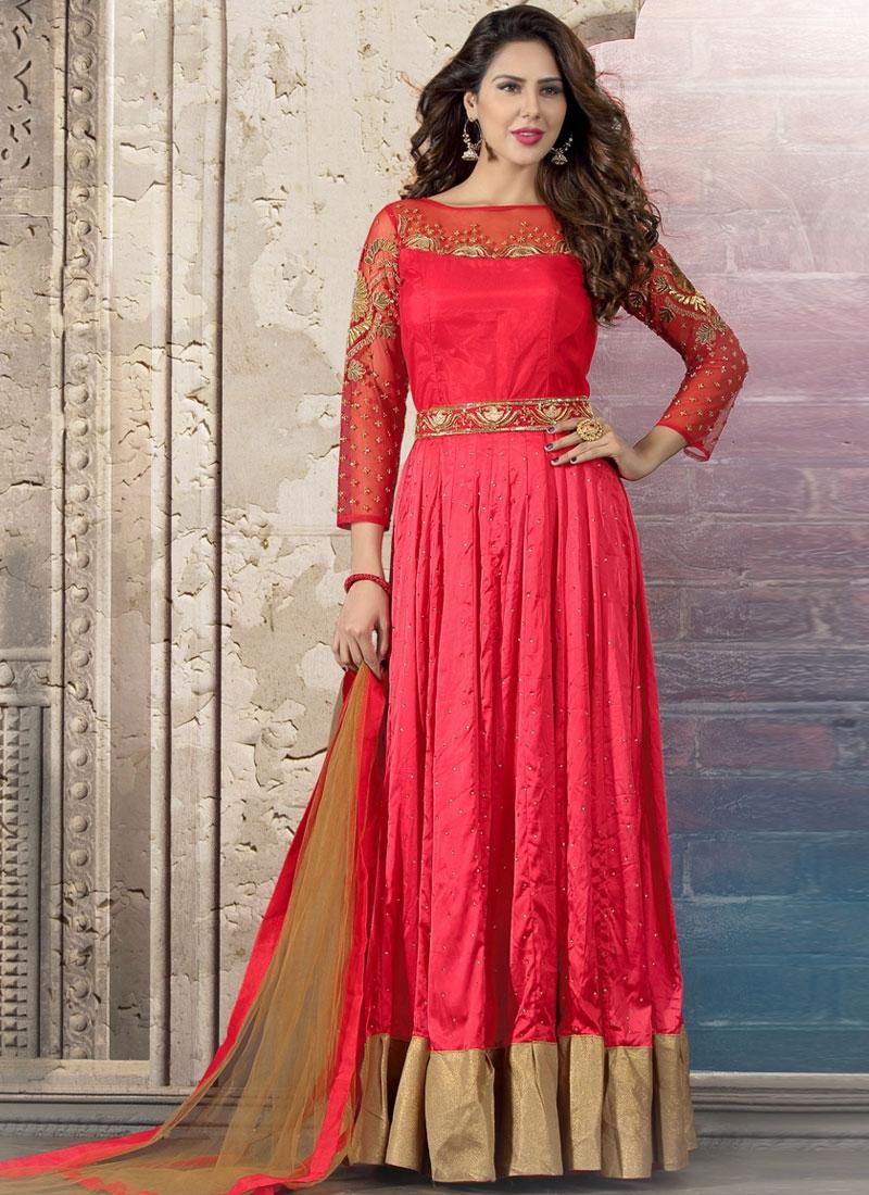 Majestic Resham Work Crepe Silk Readymade Salwar Kameez