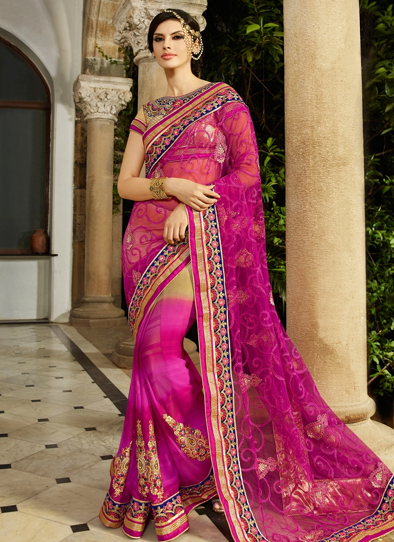Majestic Resham Work Faux Georgette Wedding Saree