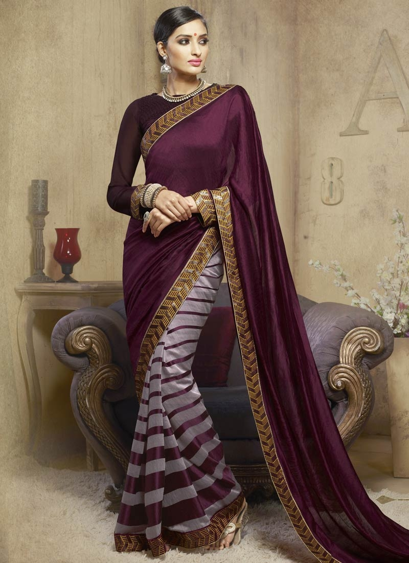 Majestic Sequins Work Viscose Half N Half Party Wear Saree