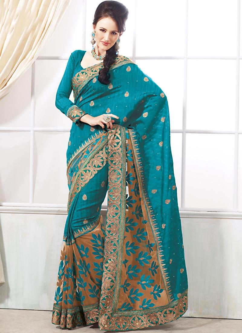 Majestic Teal Color Silk Saree