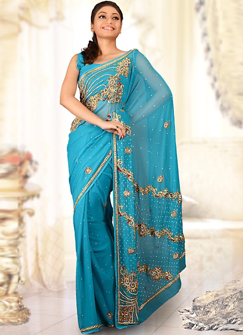 Majesty Aqua Blue Chiffon Bridal Saree