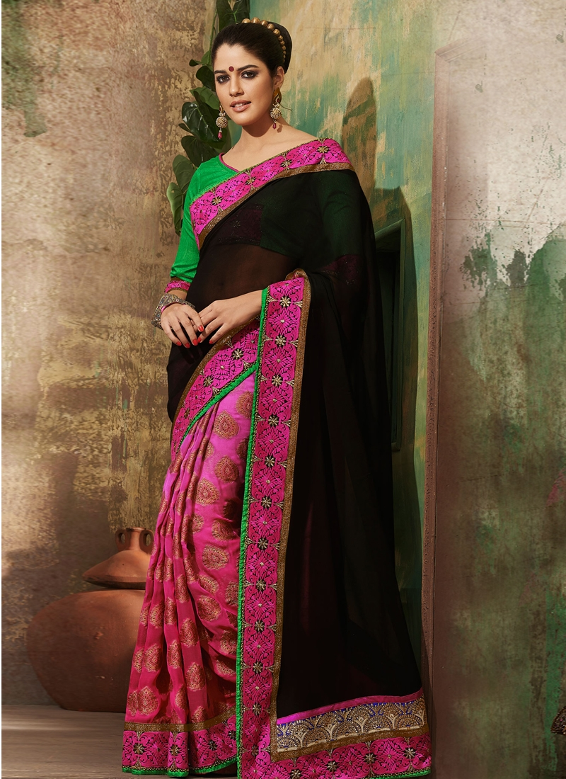 Majesty Bead And Lace Work Half N Half Saree