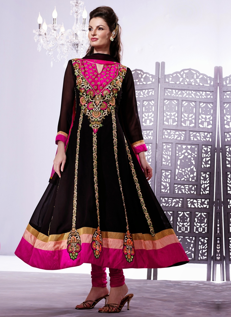 Majesty Black And Magenta Color Designer Salwar Suit
