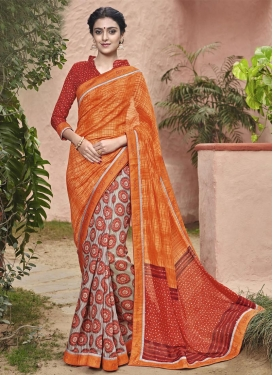 Majesty Grey and Orange  Half N Half Saree