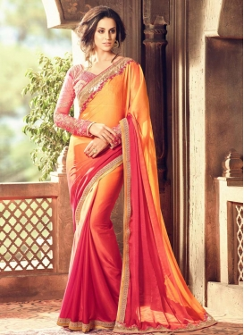 Majesty Mustard and Rose Pink Designer Contemporary Style Saree For Ceremonial