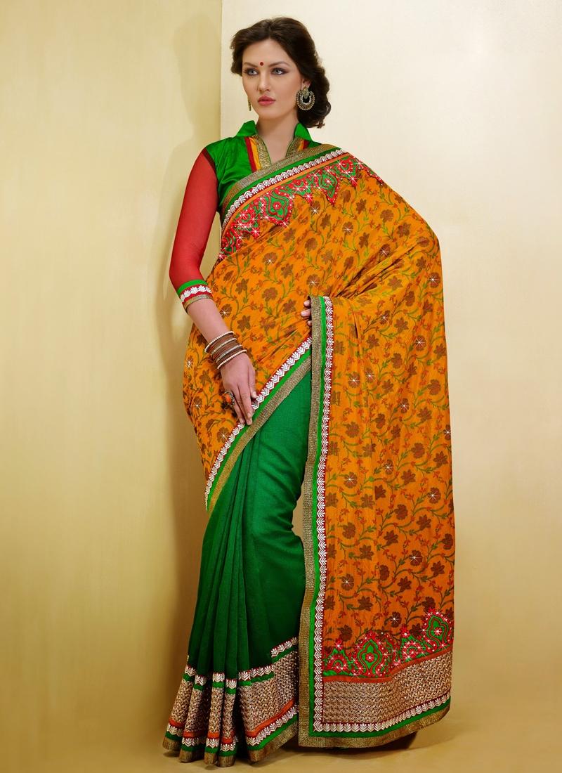 Majesty Orange And Green Color Half N Half Saree