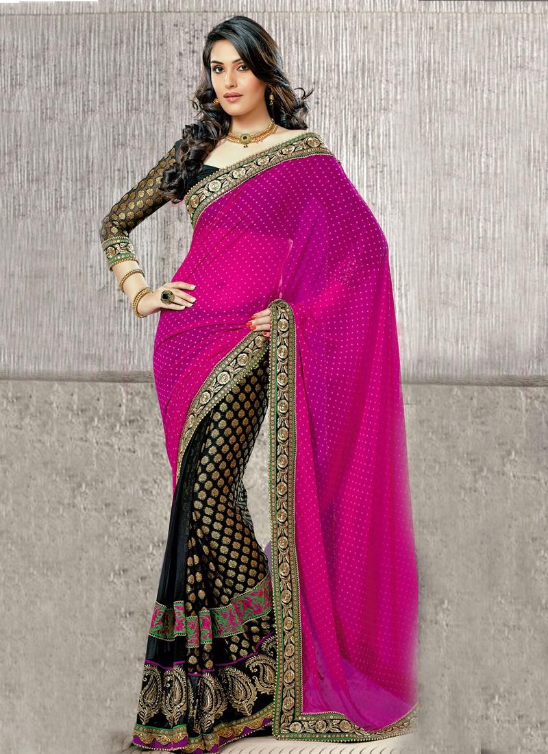 Majesty Patch Enhanced Half N Half Saree