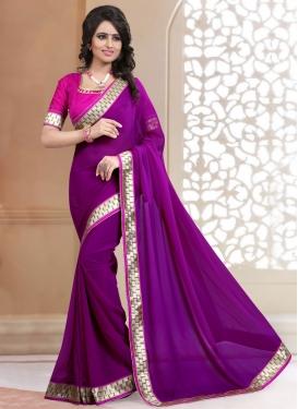 Majesty Purple Color Faux Georgette Casual Saree