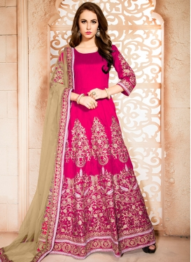 Majesty Rose Pink Booti Work Ankle Length Designer Anarkali Suit