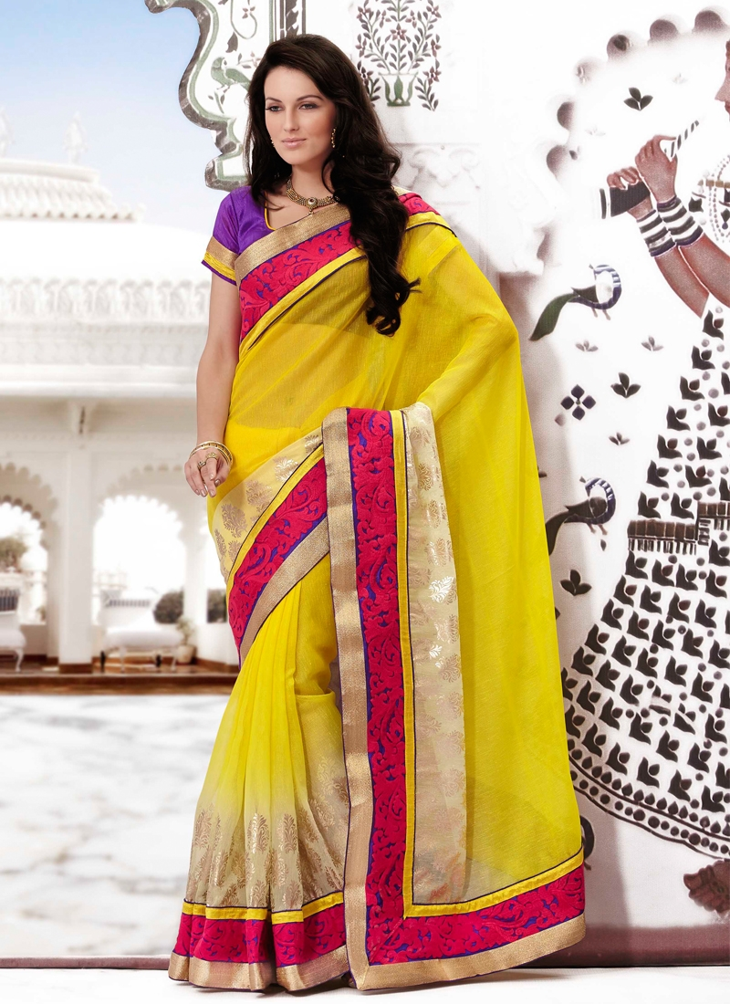 Majesty Yellow And Cream Color Party Wear Saree