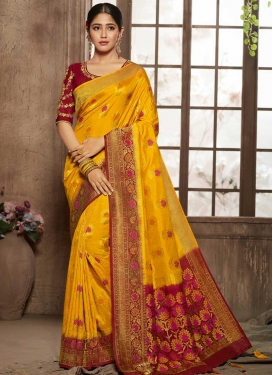 Maroon and Mustard Designer Contemporary Style Saree