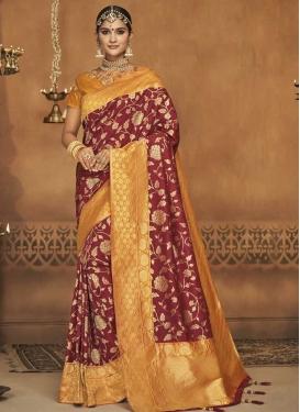 Maroon and Mustard Jacquard Silk Designer Traditional Saree