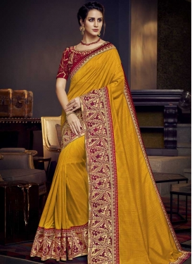 Maroon and Mustard Traditional Saree For Ceremonial