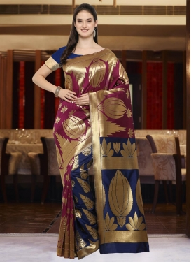 Maroon and Navy Blue Art Silk Trendy Saree For Casual