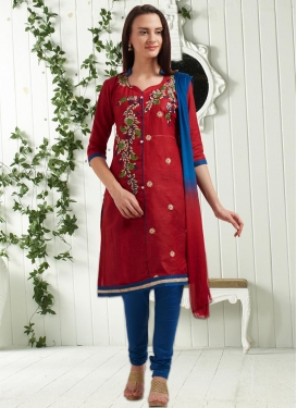 Maroon and Navy Blue Cotton Punjabi Churidar Salwar Kameez