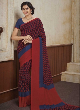 Maroon and Navy Blue Print Work Crepe Silk Traditional Designer Saree