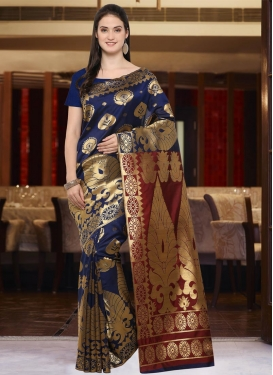 Maroon and Navy Blue Thread Work Contemporary Style Saree