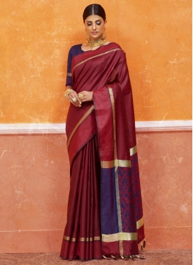 Maroon and Navy Blue Thread Work Trendy Classic Saree