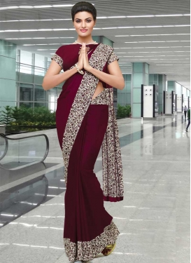 Maroon and Off White Contemporary Saree