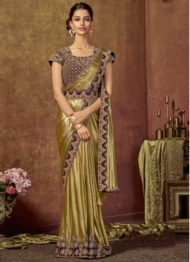 Maroon and Olive Classic Saree For Bridal