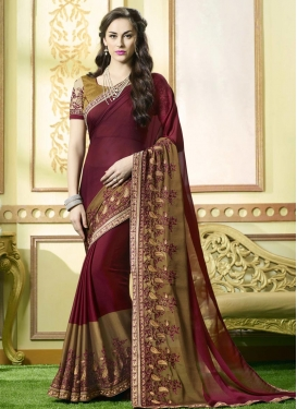 Maroon and Olive Embroidered Work Trendy Classic Saree