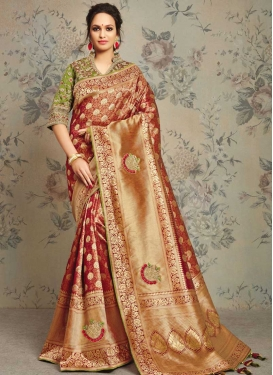 Maroon and Olive Jacquard Silk Traditional Designer Saree