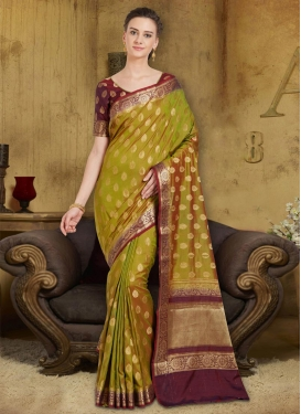 Maroon and Olive Traditional Saree