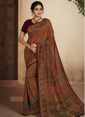 Maroon and Orange Contemporary Saree For Ceremonial