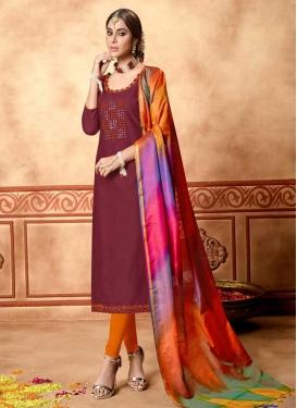 Maroon and Orange Thread Work Trendy Churidar Suit