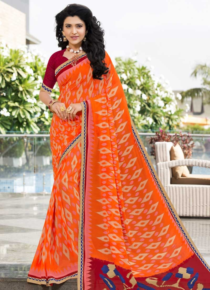 Maroon and Orange Trendy Classic Saree