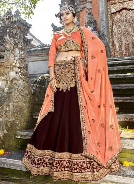 Maroon and Peach Art Silk A Line Lehenga Choli