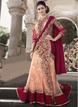 Maroon and Peach Embroidered Work Designer Lehenga Saree