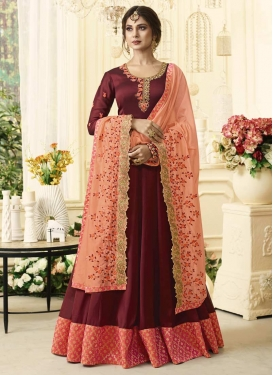 Maroon and Peach Floor Length Anarkali Salwar Suit