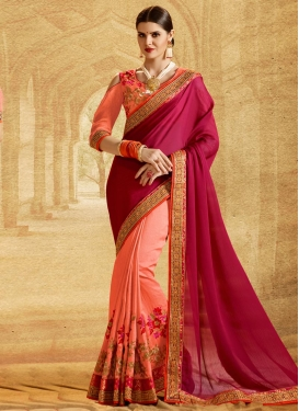 Maroon and Peach Half N Half Saree