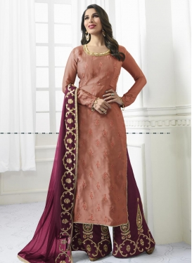 Maroon and Peach Satin Palazzo Style Pakistani Salwar Suit