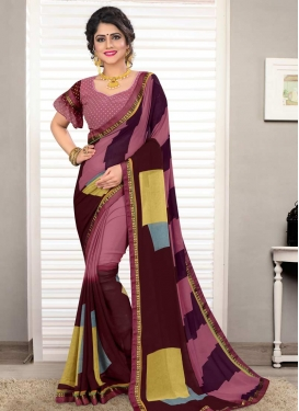 Maroon and Pink Designer Contemporary Saree For Casual