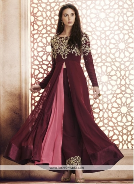 Maroon and Pink Embroidered Work Designer Palazzo Salwar Kameez