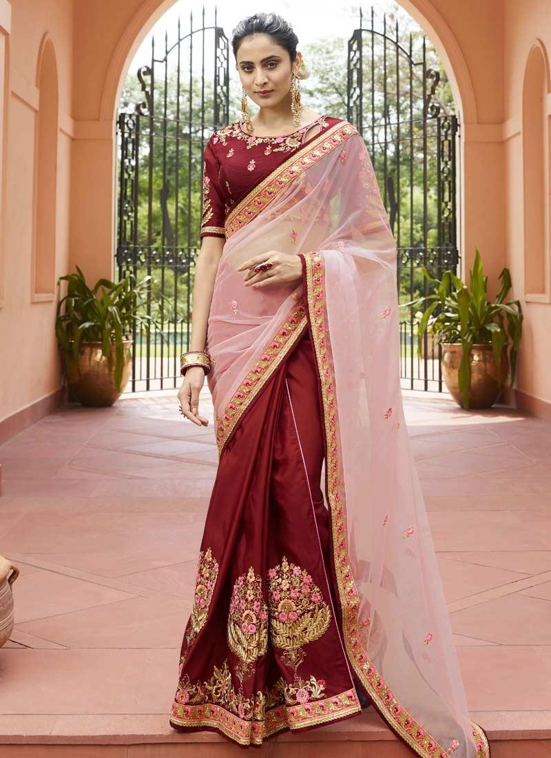 Maroon and Pink Satin Silk Half N Half Trendy Saree