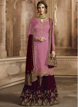 Maroon and Pink Sharara Salwar Kameez