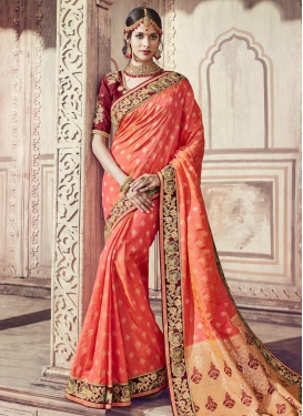 Maroon and Salmon Banarasi Silk Classic Saree