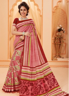 Maroon and Salmon Bhagalpuri Silk Trendy Classic Saree