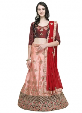 Maroon and Salmon Designer A Line Lehenga Choli