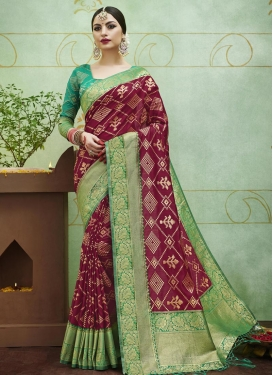 Maroon and Sea Green Contemporary Style Saree For Ceremonial